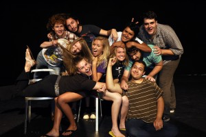 "Actors fight for attention in ""An Evening of Improv"" which runs from September 25 – 28 at Stetson University's Second Stage Theatre located at 600 N. Woodland Blvd. Photo by Ken McCoy. (Left to right, back row: Andrew Townes, Connor Harting, Luis Garcia, Alex Schelb; middle row: Mimi Szymkowska, Melissa Trible, Stephanie Wattigny, Dylan Mullins; front row: Alyssa Husbands, Kevin Serrano)."