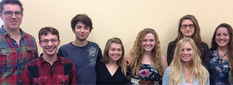 Right to left: Drew, Ian, Joe, Stephanie, Ellen, Eliza, Kaleigh, Tara