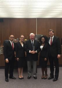(L-R): Stanton Fears, Brooke Batton Charlan, presiding judge Farmer, Phylicia Pearson and Kyle Ross.