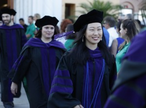 Stetson graduates walk at commencement.