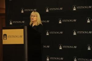 Judge Pamela Campbell addresses students at Stetson's Leadership Luncheon Nov. 18.