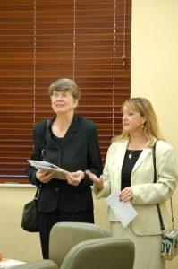 Former U.S. Attorney General Janet Reno toured Stetson's state-of-the-art, elder-friendly Eleazer Courtroom. with Professor Roberta Flowers.