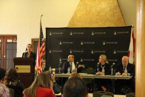 (L-R): Professor Luz Nagle, Ahmad Yakzan, Franziska Kues and Gregory W. Kehoe.