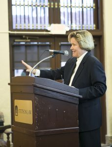Cristina Arguedas, this year's White Collar Criminal Defense Award winner, spoke at Stetson.