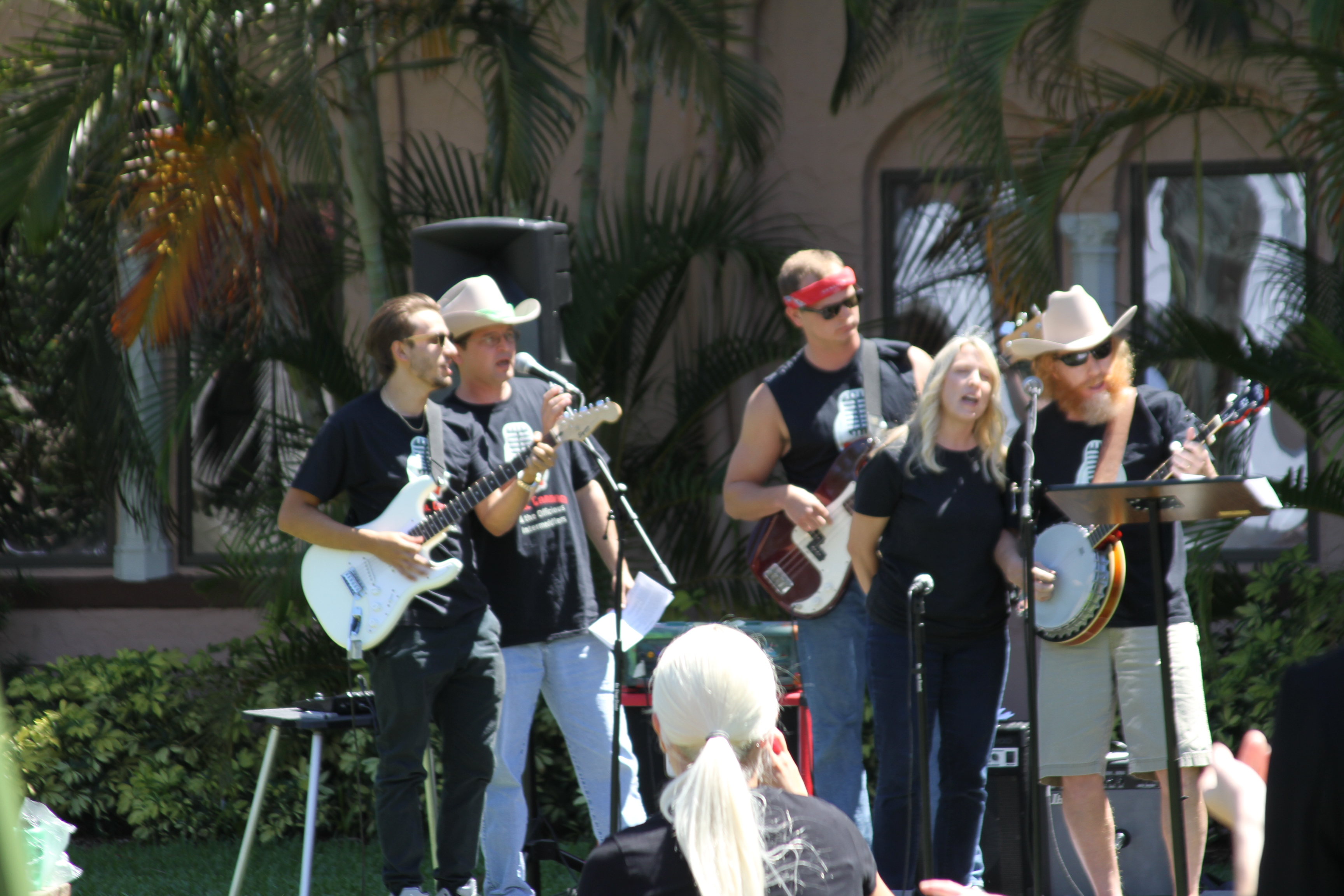 Professors Gardner, Long and friends rocked the Plaza Mayor Courtyard for Earth Day on Stetson's Gulfport campus.