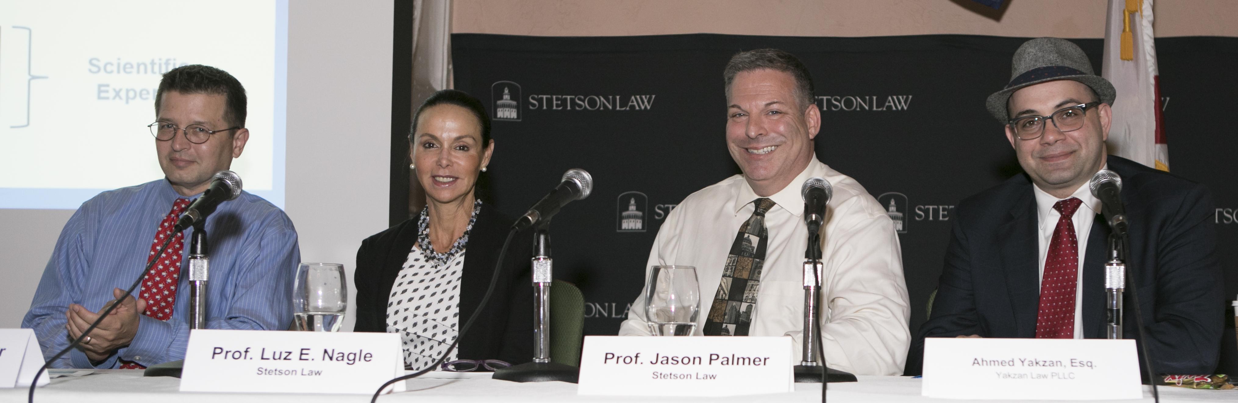 Panelists (L-R): Professor Royal Gardner, Professor Luz Nagle, Professor Jason Palmer and alumnus Ahmad Yakzan.