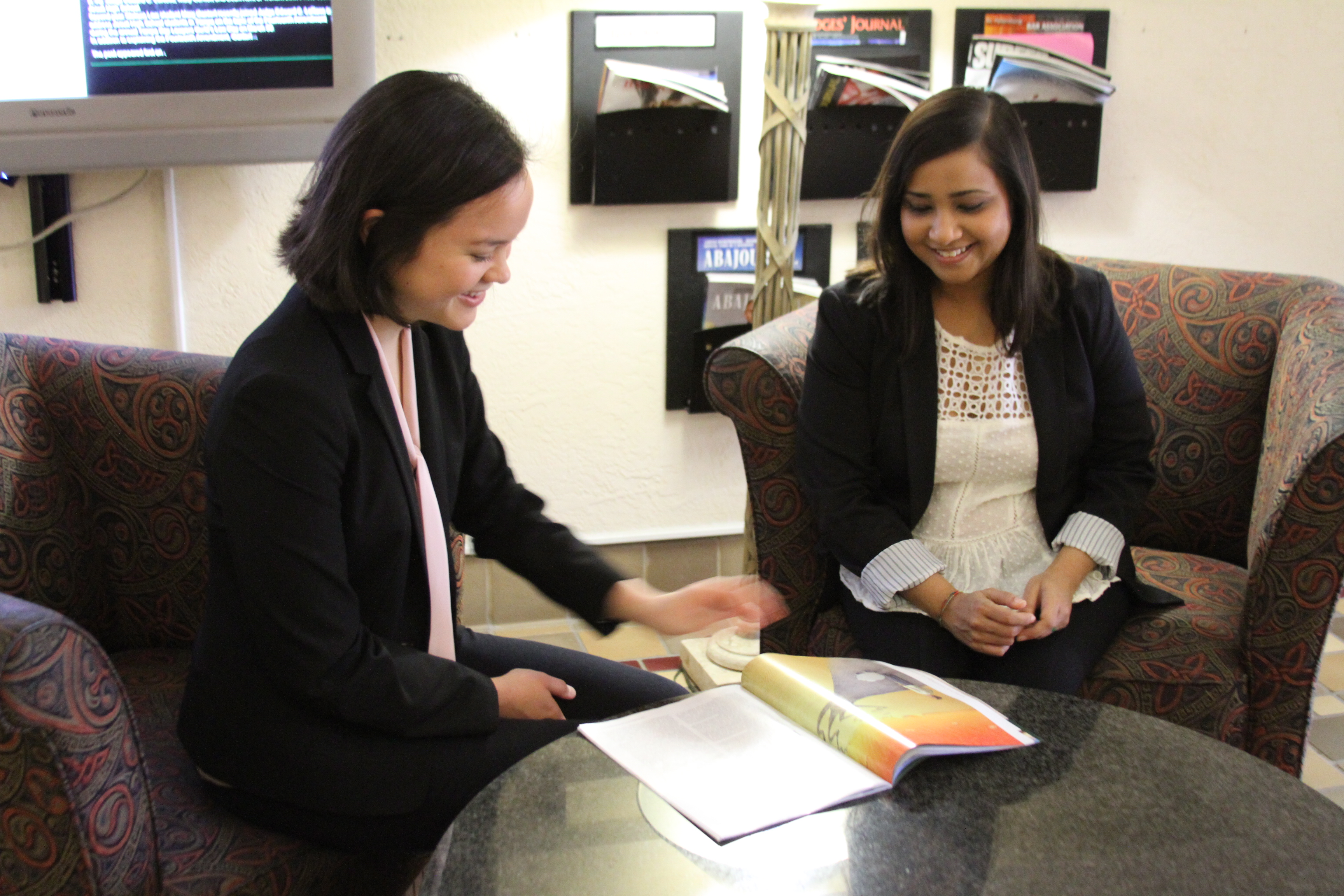 Khai Su and Riya Khan worked together to present during the model U.N. session.