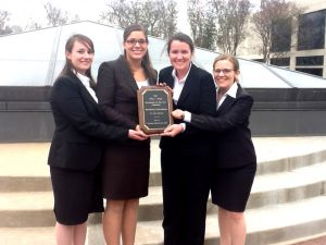 Diana Evans (left) helped her team win the south regional round of the Philip C. Jessup International Law Moot Court Competition and the best memorial award in 2012 in Houston, Texas. Evans also won the fourth-best oralist award.