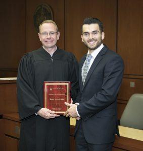 (L-R): Judge Michael Allen with Best Advocate Brian Burkhardt.