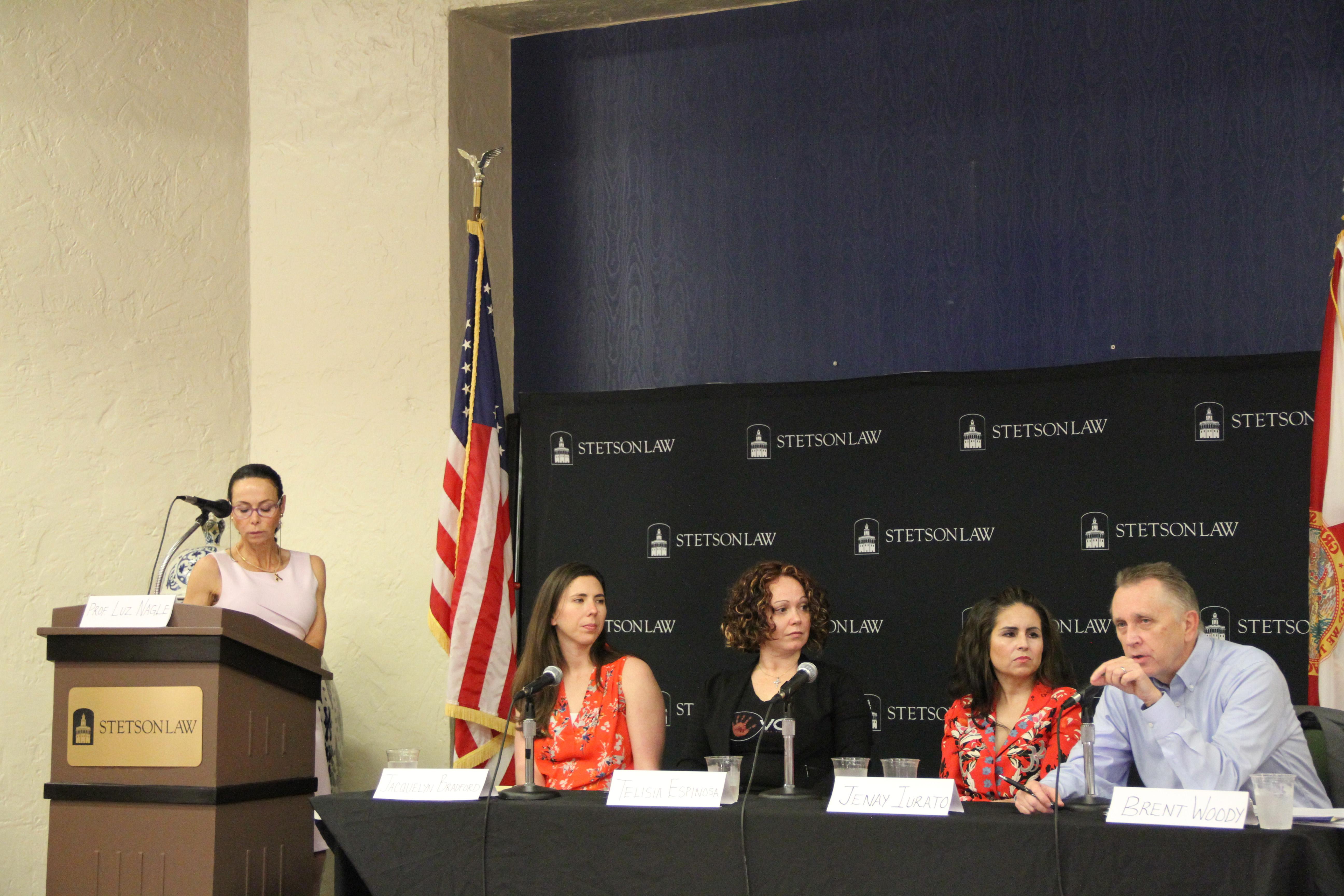 (L-R): Professor Luz Nagle, Jacquelyne Bradford, Telisia Espinosa, Jenay Iurato and Brent Woody. Photo by Merve Ozcan.