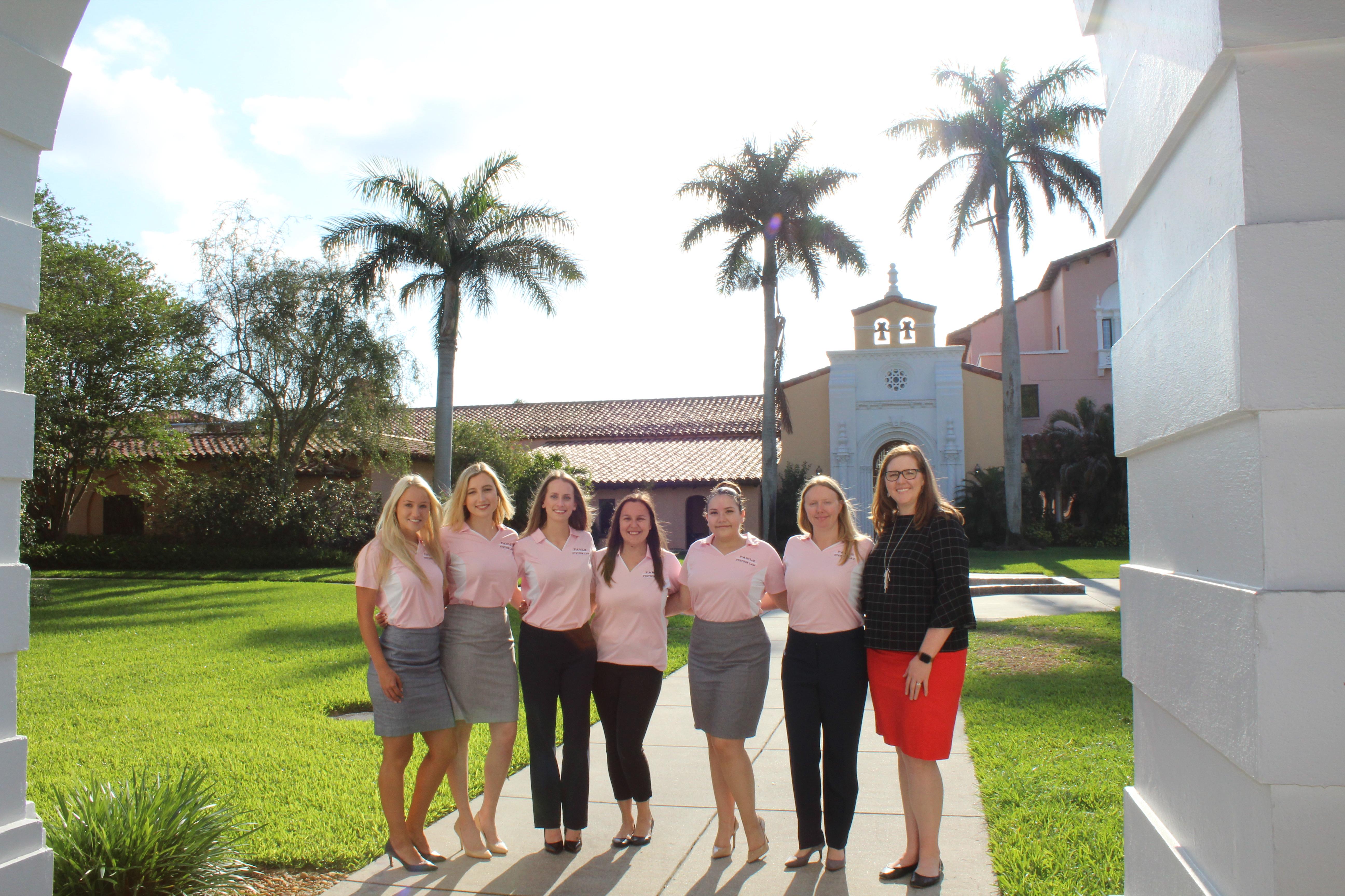 (L-R): Brittany Showalter, Kaitlyn Konecny '18, FAWLS President Kimberly Lopater, Casey Burns '18, Julia Alley '18, Michelle Moretz, FAWLS advisor Joann Grages Burnett.