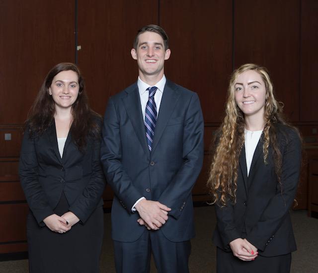 (L-R): Deanna Cipriano, James Nealon, and Madison Wahler. Photo courtesy Professor Brooke Bowman.