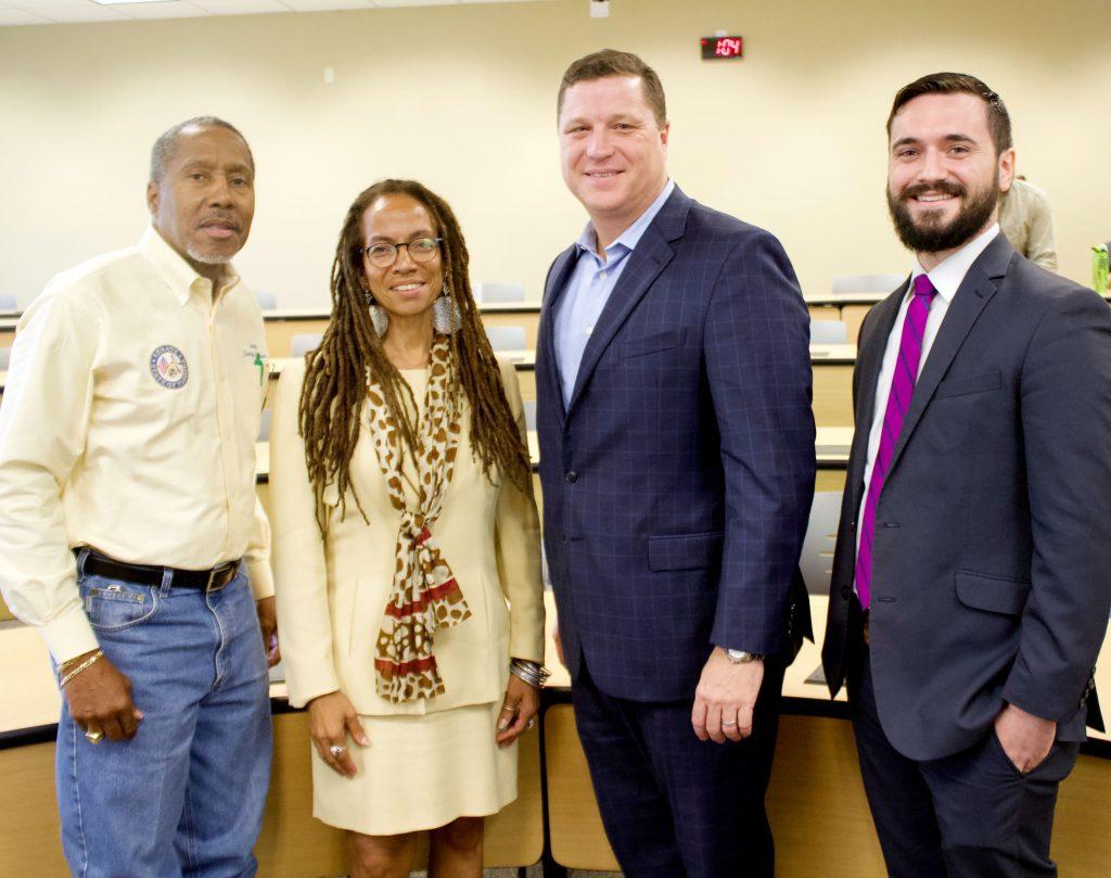 picture of Senator Darryl Rouson, Stetson Professor Judith Scully, Senator Jeff Brandes, and Stetson student Matt Keen