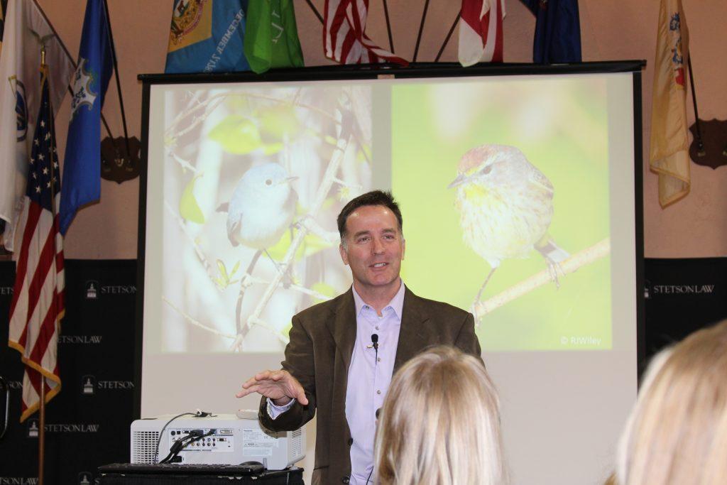 Jason Lauritsen speaking to students.