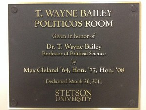 Plaque Outside Bailey-Politicos Room