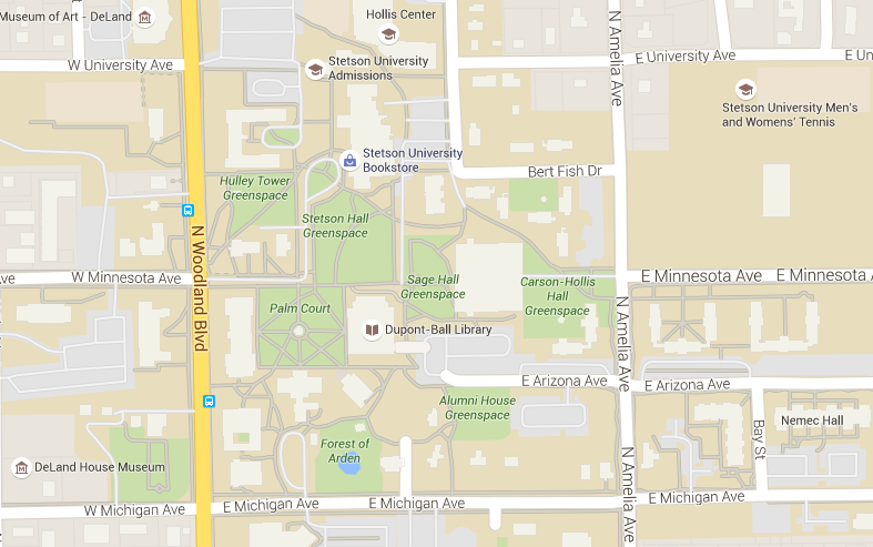 Map of Dupont-Ball Library on DeLand Campus and surrounding streets