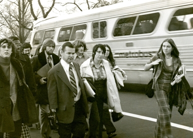 black and white photo of Dr. Bailey and students in Washington, D.C.