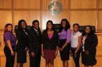 Stetson's BLSA Executive Board L-R: Angelica Jones, Keyara Franklin, Brannon Gary, Lakeisha Simms, Valeria Obi, Cindy Cumberbatch and Charis Campbell.