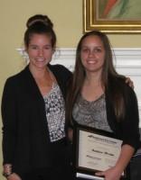 TravelFund Olivia Stevens (Boulevard Tire Center representative) and Amber Frato (student recipient)