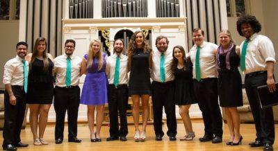 Graduating members of both a cappella groups.