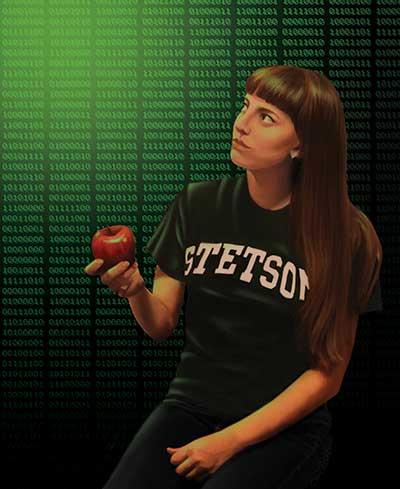 Illustration of girl in Stetson t-shirt