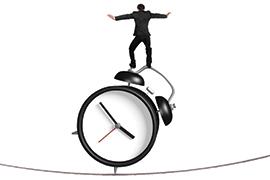 graphic art: illustration of man balancing atop an alarm clock