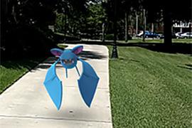 Photo of a Pokemon Zubat on sidewalk