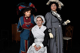 Stetson students Lily Desenberg, Caitlyn Carey, Cori LaPinsky on stage