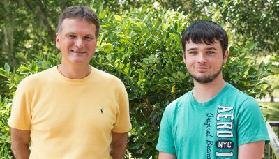 """Computer science and math Professor Dan Plante knew student Richard Roe, right, and Sebastian Florez had stumbled onto a computer code that was """"very dangerous and very destructive."""""""