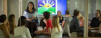 Professor Rajni Shankar-Brown, Ph.D., leads a class in discussion.
