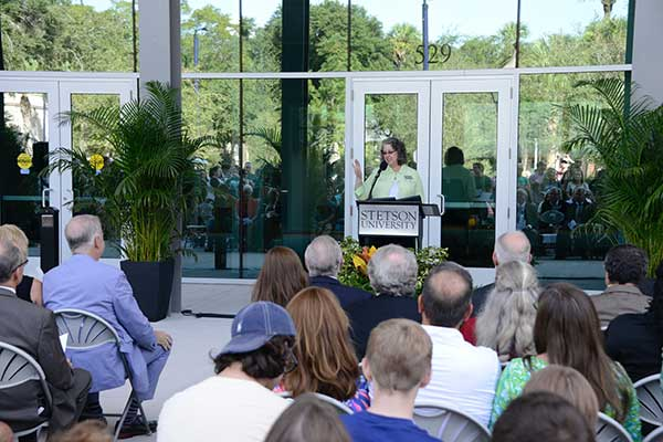 Stetson President Wendy Libby speaks at opening ceremony for Welcome Center
