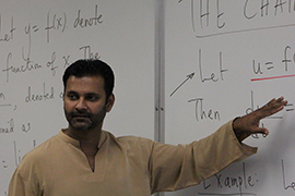 Hari Pulapaka in the classroom