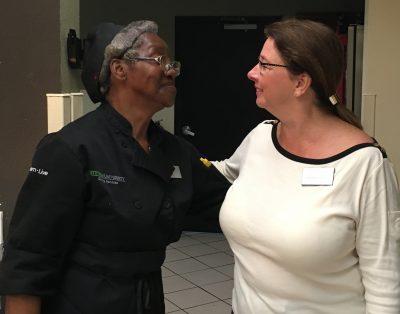 Irene Gilmore with her boss, Barbara Stolz