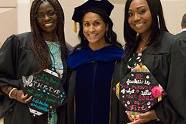 Stetson professor Rajni Shankar-Brown and two graduating students