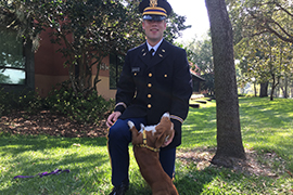 Steson student Ryan Newfrock and his dog Delilah