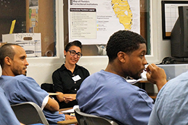 Stetson Professor Pamela Cappas-Toro in classroom in Tomoka state prison.