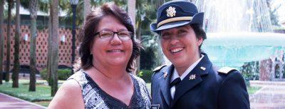 recent grad, ROTC cadet Maria Frank, and her mother, Teresa Frank-Fahrner