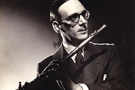 Portrait of Geoffrey-Gilbert holding a flute.