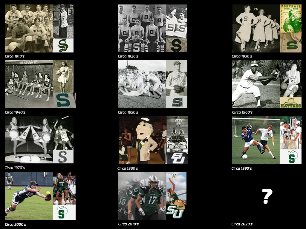 montage of images of athletes in uniforms with University brand through the decades since the early 1900s.