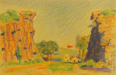 A colored sketch of a pretty lanscape.