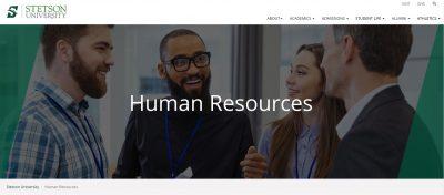 screenshot of HR website