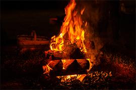 bonfire ablaze