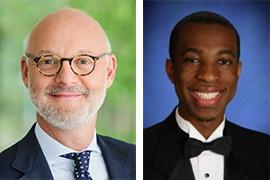 two portraits - David Jestaz, HR professional, and Stetson alumnus John Thompson