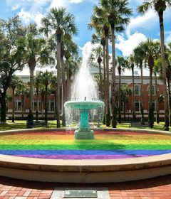 Stetson's Hollis Fountain has the water colored for Pride Month with rainbow colors.