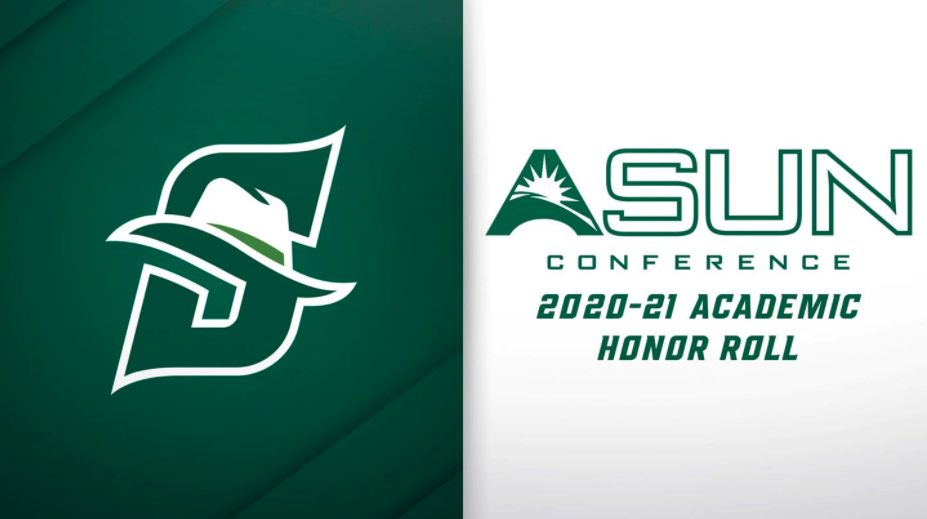 graphic with Stetson logo and ASUN Honor Roll 2020-21