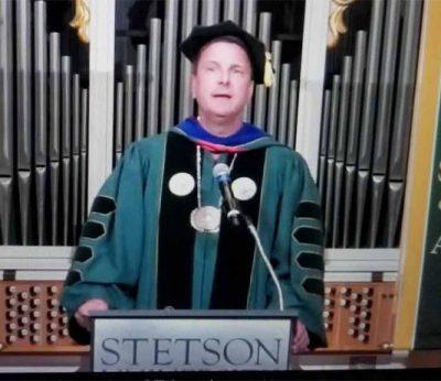 Screengrab of Dr. Roellke speaking at virtual Convocation.