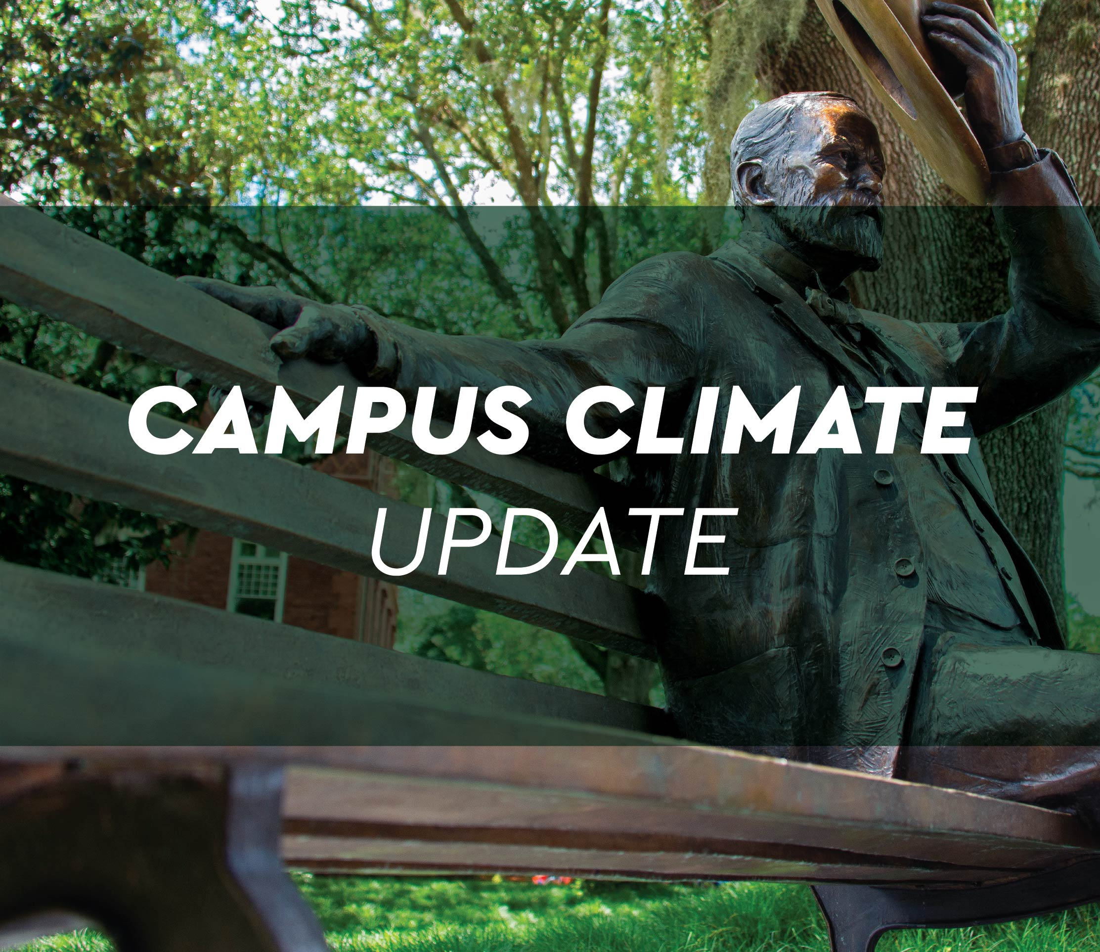graphic says, Campus Climate Update, with a green filter over John B. Stetson statue